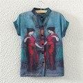 Европа и Америка Новый Повседневная Коротким Рукавом Шифон Блузка Винтаж Maidenform Печати Женщины Рубашки