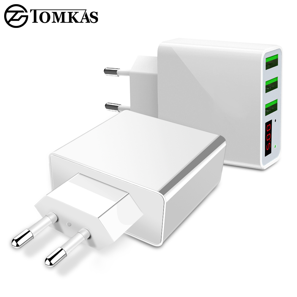 TOMKAS 3 Ports USB Charger EU Travel Portable Phone Chargers LED Display Fast Charging Adapter For iPhone Universal Wall Charger