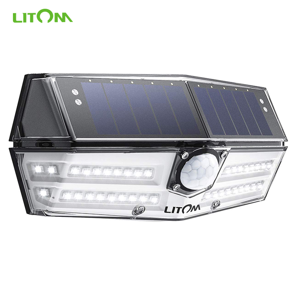 LITOM 40 LEDs Outdoor Solar Lights 3 Optional Modes Motion Sensor Solar Lamps with Wide Angle IP67 Waterproof Garden Wall Light