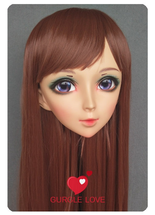 Lovely Sweet Girl Resin Half Head Kigurumi Mask With Bjd Eyes Cosplay Japanese Anime Role Lolita Mask Crossdress Doll Crazy Price Kids Costumes & Accessories dm176