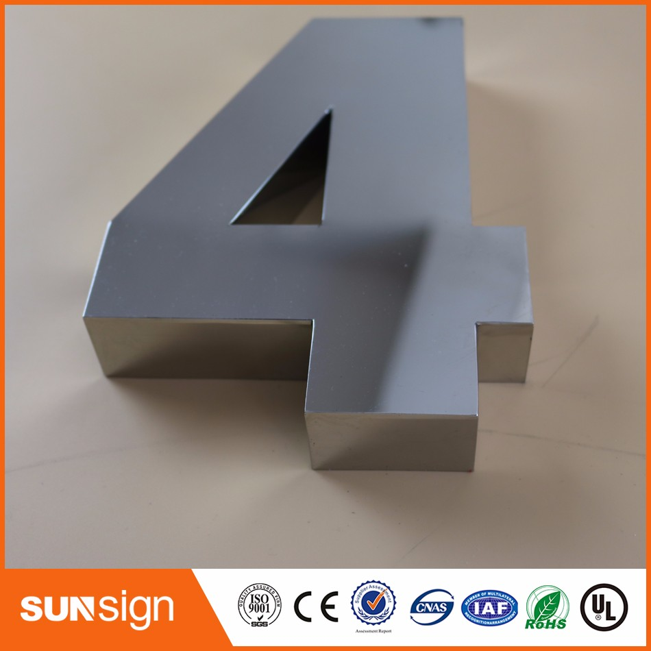 0-9 Modern 3D House Numbers 3D Mirror Polished Stainless Steel House Numbers Sign