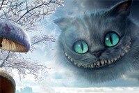 Vendita Calda di Trasporto libero della Tela di canapa WallSticker Personalizzato Alice nel paese delle meraviglie Bello Sveglio del Gatto Retro Cartoon Poster PN-083