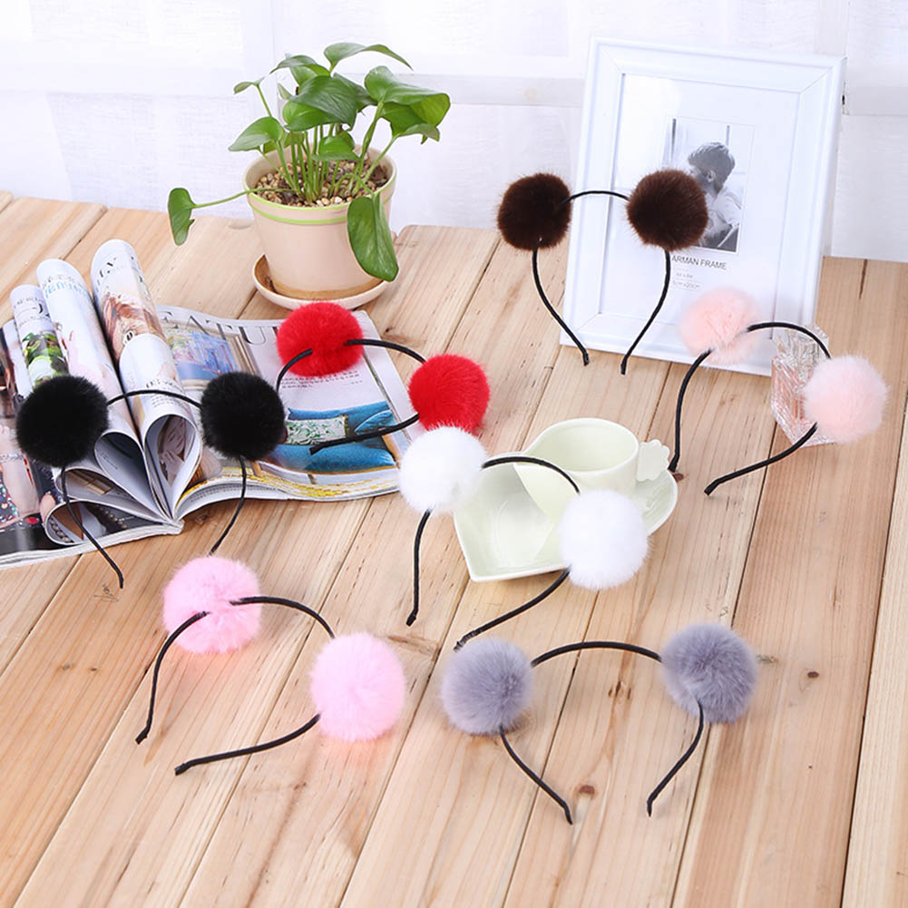 1PC Sweet Girls Cute Rabbit Plush Big Hair Ball Headband Hoop Cat Ears Hairband Tiara Hair Accessories For Kids