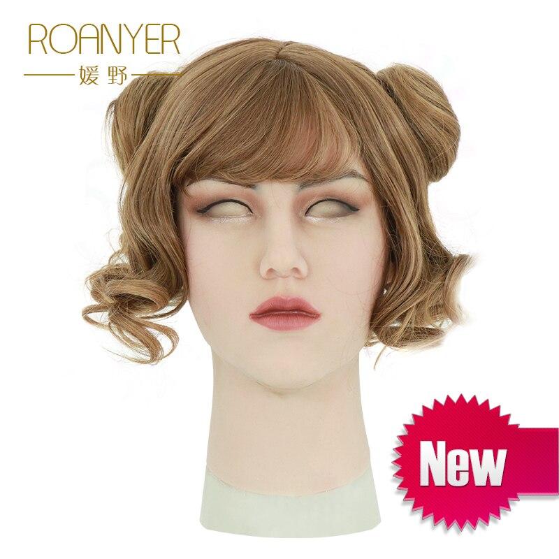 Roanyer silicona artificial realista shemale puede máscara de látex sexy cosplay para crossdresser halloween transgender máscaras
