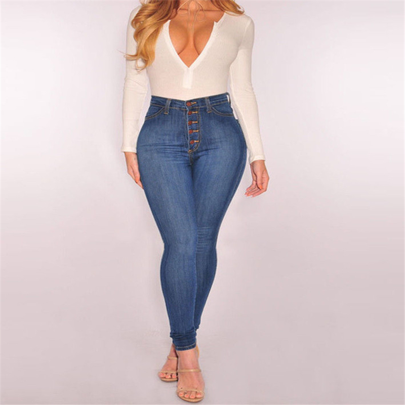 2018 Denim Pants Women Elastic High Waist Skinny Stretch Button Jean Female Spring Summer Jeans <font><b>Pantalones</b></font> <font><b>mujer</b></font> Plus Size <font><b>4XL</b></font> image