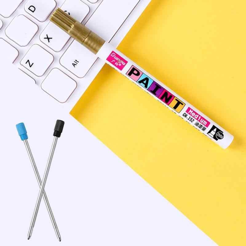 12 colores 2,2-2,8mm pluma de pintura álbum Diy tarjeta negra pluma Graffiti signo en cerámica artesanal aceite de Metal rotulador para escribir papelería