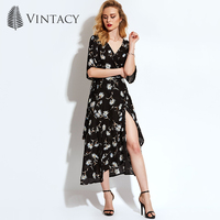 Vintacy Chiffon Women Maxi Summer Dress Black Ankle Length Floral Print Women Dresses V Neck Spring