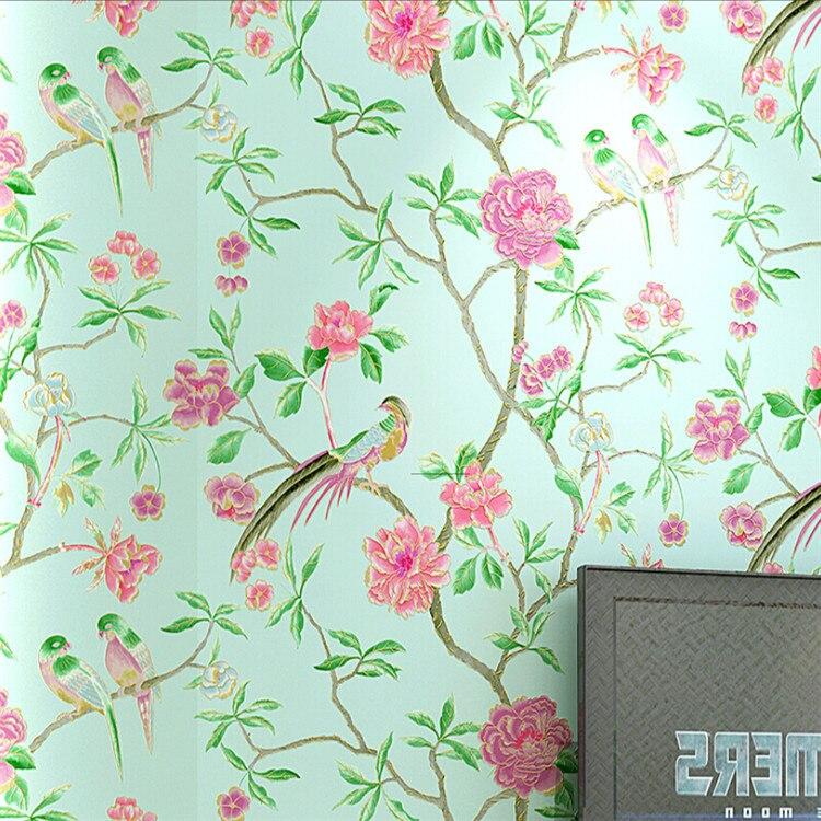 3d vinyl tapete vogel baum blume chinesischen stil wohnkultur wohnzimmer tv. Black Bedroom Furniture Sets. Home Design Ideas