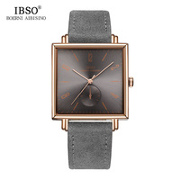 IBSO 8 MM Ultra Thin Square Case Design Mens Watches Genuine Leather Strap Fashion Luxury Quartz