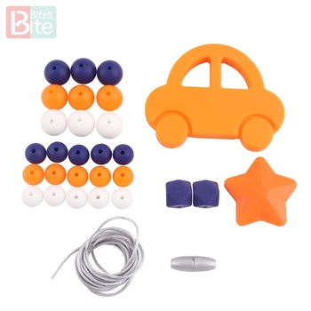 bite bites marble silicone teething beads bpa free silicone nursing necklace for mom necklace baby silicone teether baby teether Bite Bites 1set Silicone Teether Teething Car teething Necklace Set  Beads DIY Chew Necklace Nursing Food Grade Baby Teether