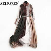 Office Ladies Splice Mid Dress Women 2018 New Fashion High Quality Elegant Turn Down Collar Mesh