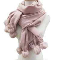 2018 Brand New Cashmere Wome Scarf with Rabbit Fur Ball Comfortable Oversized Soft Winter Thick Warm Lady Scarves