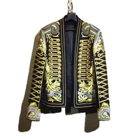 Новая мода Для мужчин блейзеры костюмы куртка плоской вышивкой костюм свадебное платье Королевский золотистыми пуговицами Slin подходят кос