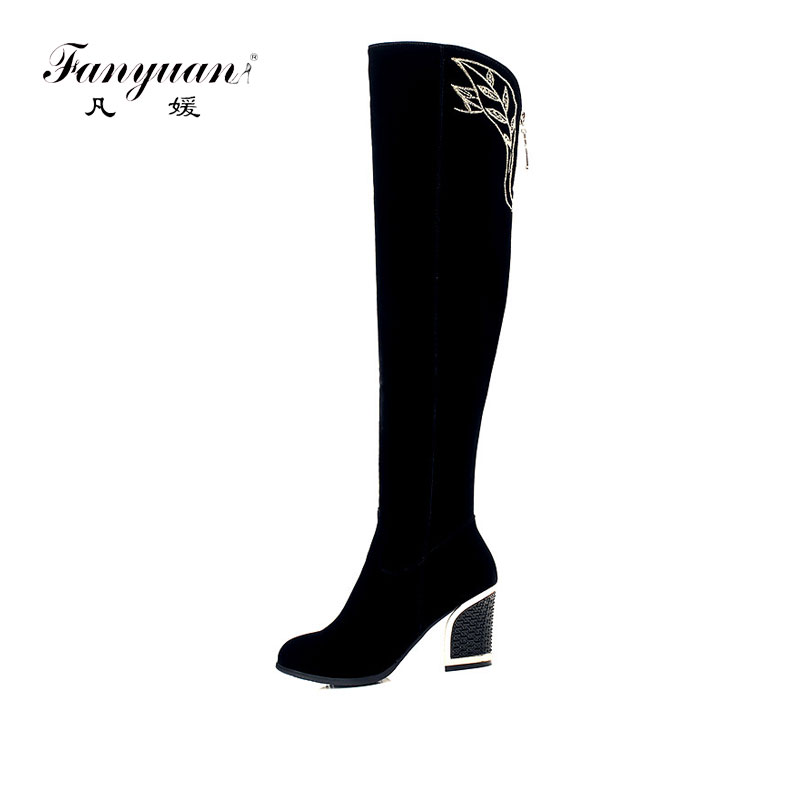 ФОТО 2016 New Arrival Fashion Over the Knee Boots for Women Zipper Embroidery Prints Square Heels Round Toe Vintage Style
