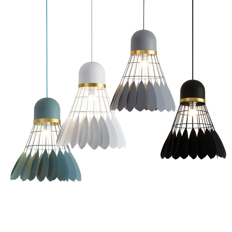 Poste moderne simple suspension lumière volant créatif badminton lumière art décoration noir blanc gris dessin salon lampe