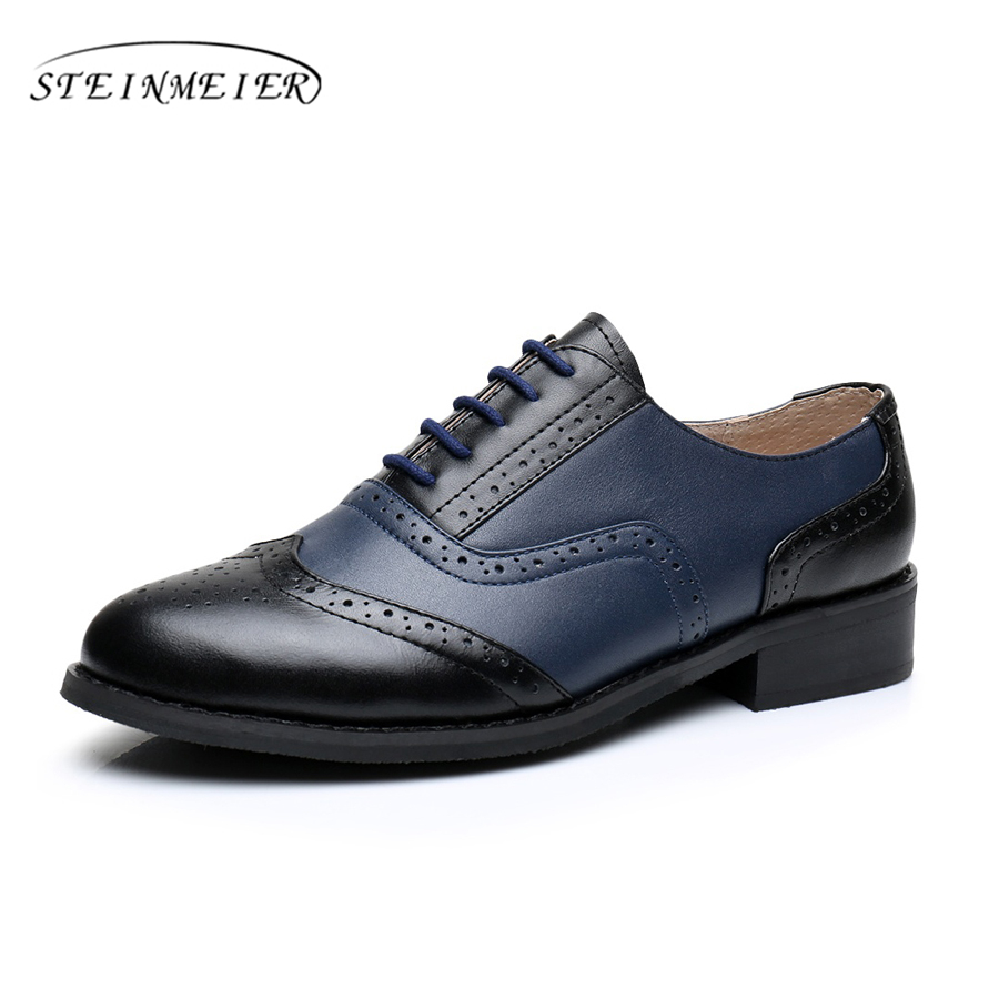 women flat leather oxford shoes woman handmade US 10 black blue 2017 sping vintage British style oxfords shoes for women fur new brand black white vintage women footwear lace up casual oxford flat shoes woman british style breathable zapatos mujer