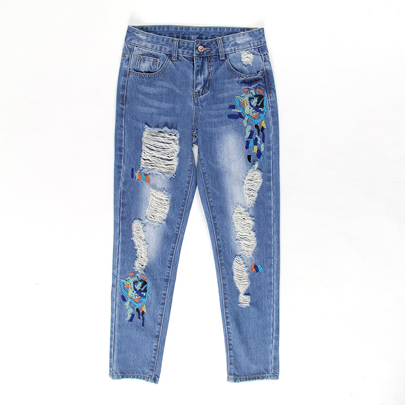 ФОТО 2017 New Fashion Ripped Jeans Women Vintage Denim Pants Holes Floral Embroidery Ladies Harem Pants Y114