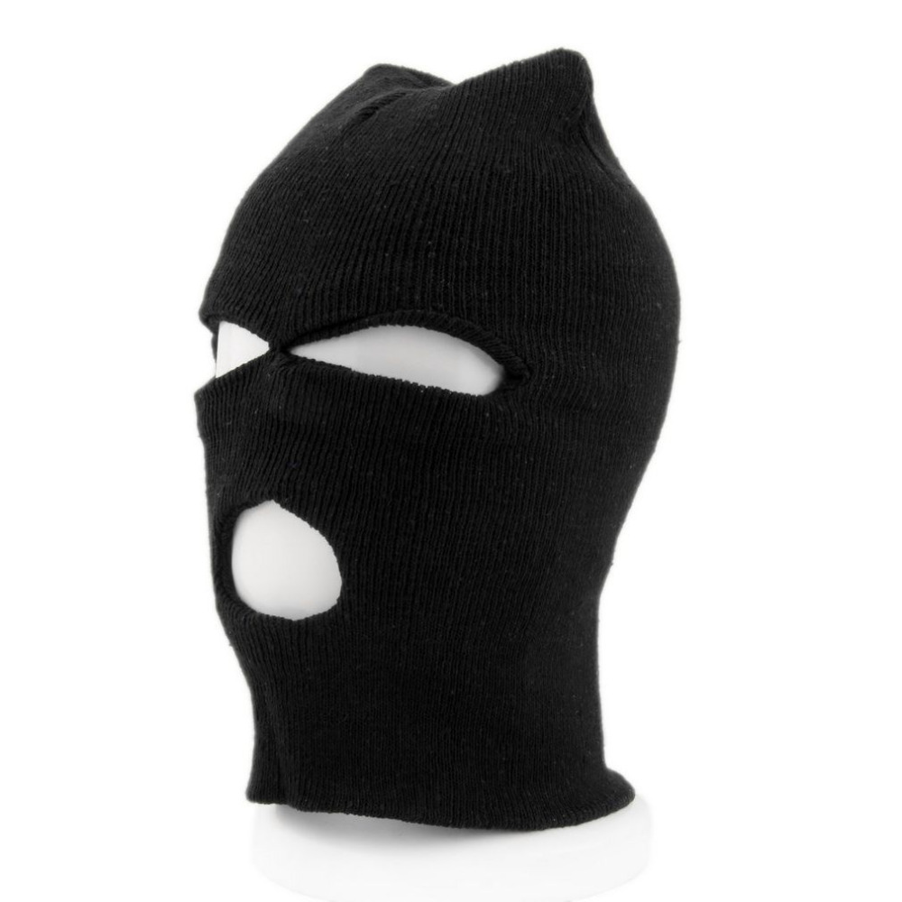 2017 Fashion Full Face Cover Mask Three 3 Hole Balaclava Knit Hat Winter Stretch Snow mask Beanie Hat Cap Free Drop shipping 2017 new full face cover mask three 3 hole balaclava knit hat winter stretch snow mask beanie hat cap free shipping
