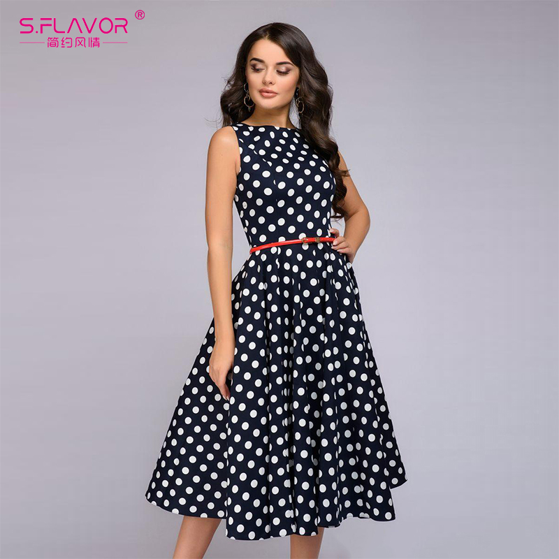 S.FLAVOR Women Retro Sleeveless Polka Dot Print Dress O Neck Vintage Dresses Knee Length Party vestidos de festa