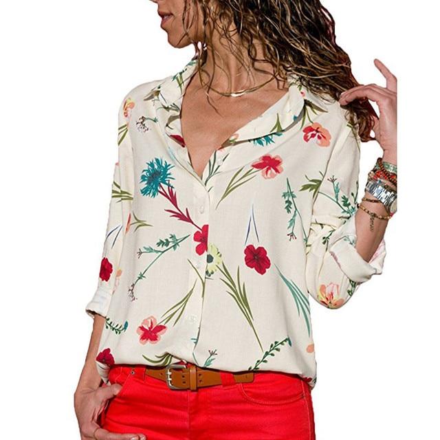 2020 New Fashion Print Women Blouses Long Sleeve Turn-down Collar Chiffon Blouse Shirt Casual Tops Plus Size Elegant Work Shirt 4