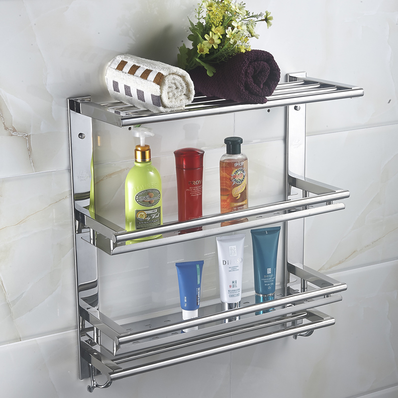 MTTUZK DIY 304 stainless steel shelves bathroom rack 4 layers bathroom makeup rack With towel washbasin