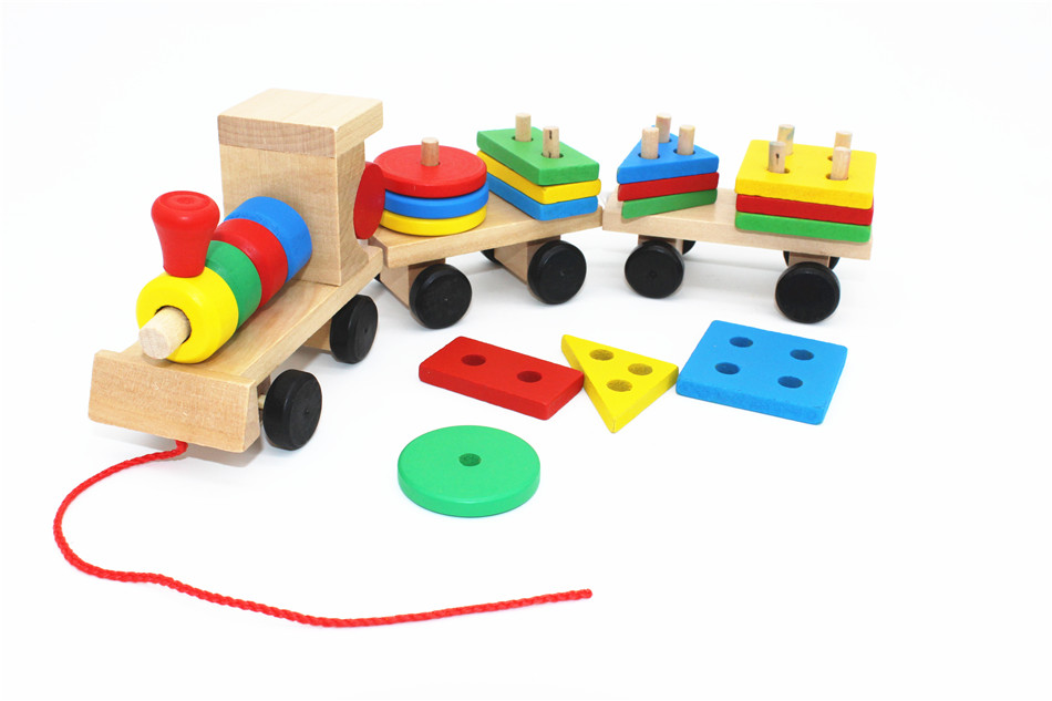 SUKIToy classic wooden models building toys blocks train for children boys Montessori game for kids gift shape matching 2