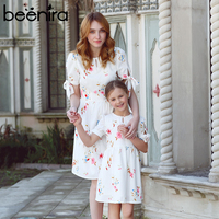 Beenira 2018 New European And American Style Family Dresses Flower Pattern Casual Dress Design For Mother + Baby Summer Dress