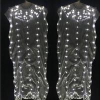 New arrivals LED Light belly dance fan veil 1 pair 100% silk Belly Dance Costume Accessories Belly Dance Fan veil