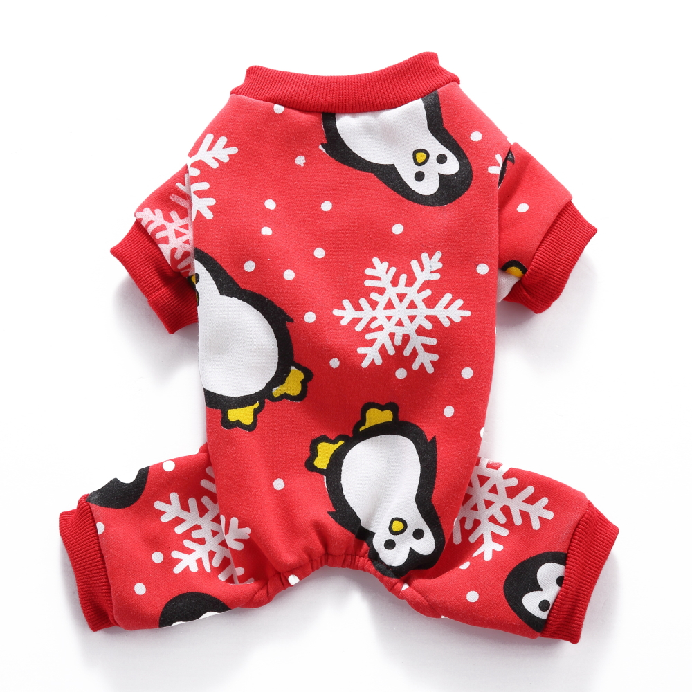 fitwarm cute penguin xmas pet clothes for dog pajamas soft christmas pjs red medium
