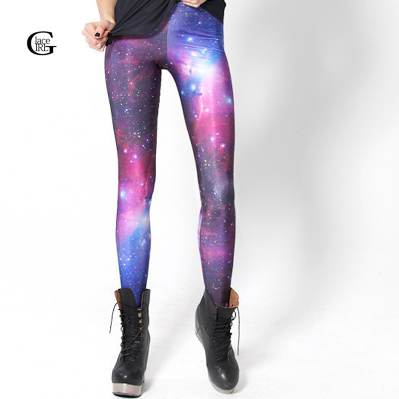 Lace Girl Women Leggings 2016 HOT! SEXY! Women Galaxy Purple Leggings Space Printed Pants Milk Leggings Sexy Leggings Plus Size