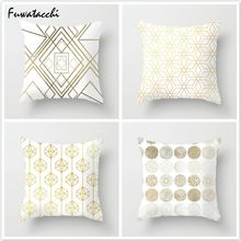 Fuwatacchi Simple Style Gold Lines Cushion Cover Geometric Shape Cotton Soft Pillows Covers Home Sofa Chair Decorative