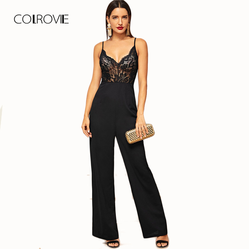 7c3ac25e404c COLROVIE Black Solid High Waist Sheer Bodice Wide Leg Sexy Cami Lace  Jumpsuit Women Clothes 2018