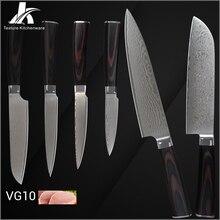 Heißer verkauf damaskus messer handgemacht hochwertigen Japanischen VG10 damaskus stahlkern farbe holzgriff neue küchenmesser 6 stücke set