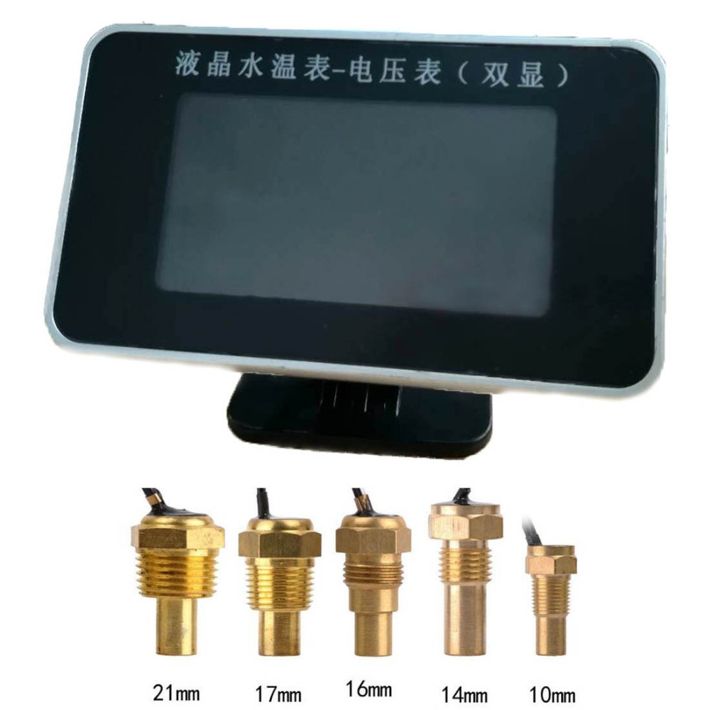 12 v/24 v Auto LCD Digital Display Wasser Temp Messgeräte und Volt Meterss + Wasser Temperatur Sensor Kopf stecker 10mm 14mm 16mm 17mm 21mm