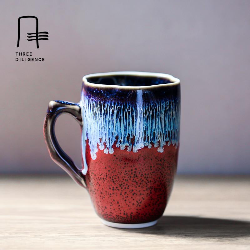 Jingdezhen Ceramic Fambe Small coffee Cup Milk Mug Home Office Kiln Furnace Transmutation flambe Glazed Drinkware