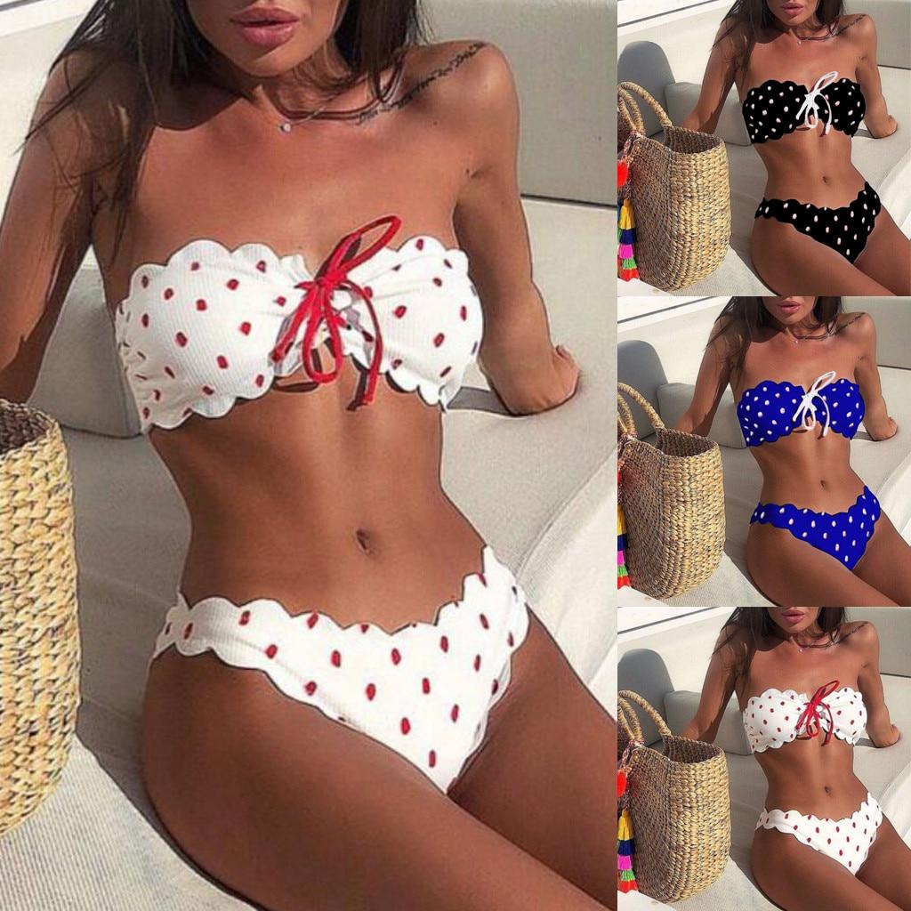 2019 swimwear Sexy swimming suit for women Wave Point Push Up Padded Bra Beach Bikini Set
