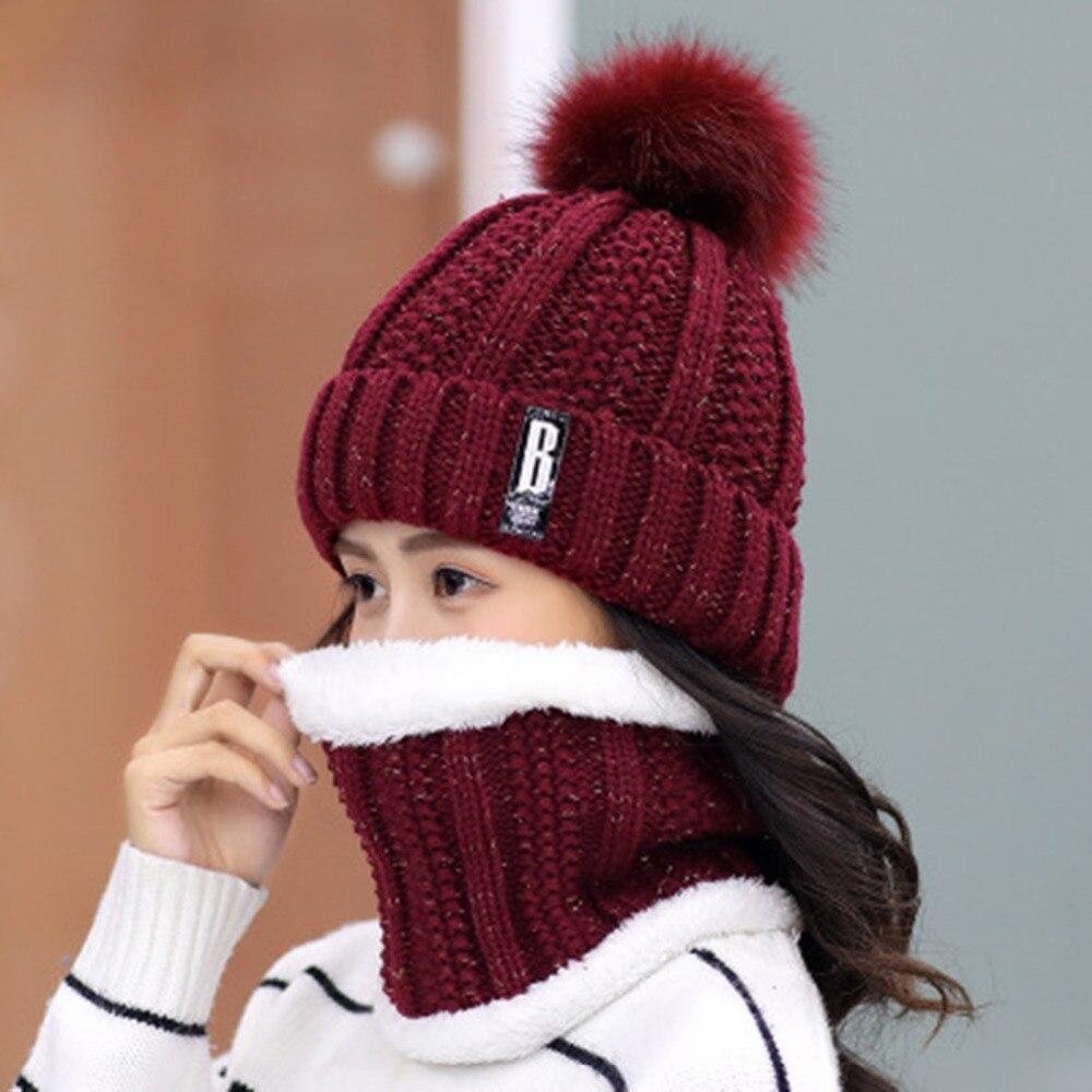 Fashion Thicken Knitted Beanie Hat Cap 2pcs Set Hat+scarf Women Winter Warm Scarf 2019 Neck Warmer Woolen Scarf Snow Hat Bonnet Skilful Manufacture
