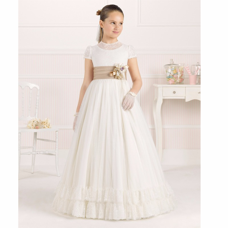 6531e7233cc8 Elegant First Holy Communion Dresses With Sleeves High Neck Flower ...