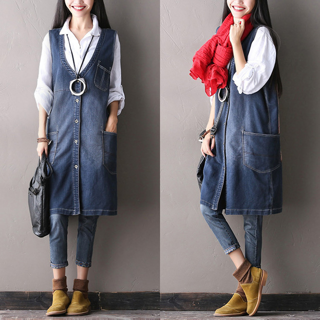 2016 female  new autumn water wash wearing white vintage applique denim outerwear comfortable soft pocket vest