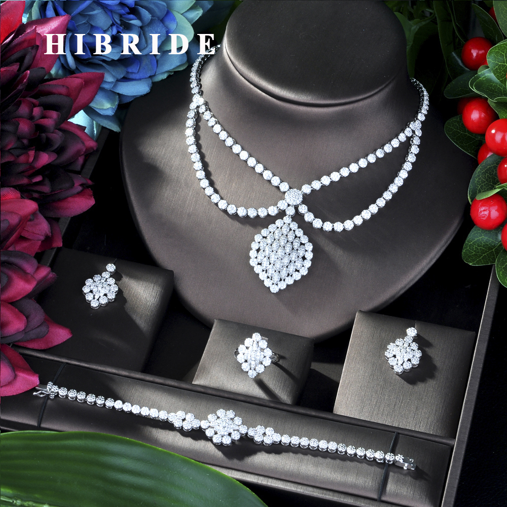 HIBRIDE de luxe géométrie collier africain boucle d'oreille ensemble de bijoux pour les femmes de mariage Zircon CZ Dubai ensemble de bijoux de mariée N-45