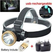 Lampe frontale haute puissance, lampe torche Rechargeable par USB, éclairage LED, idéal pour la pêche ou le Camping