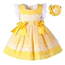 Pettigirl الفتيات عيد الفصح اللباس الصيف الدانتيل الأصفر الأميرة اللباس للبنات مع Hariband الاطفال الملابس