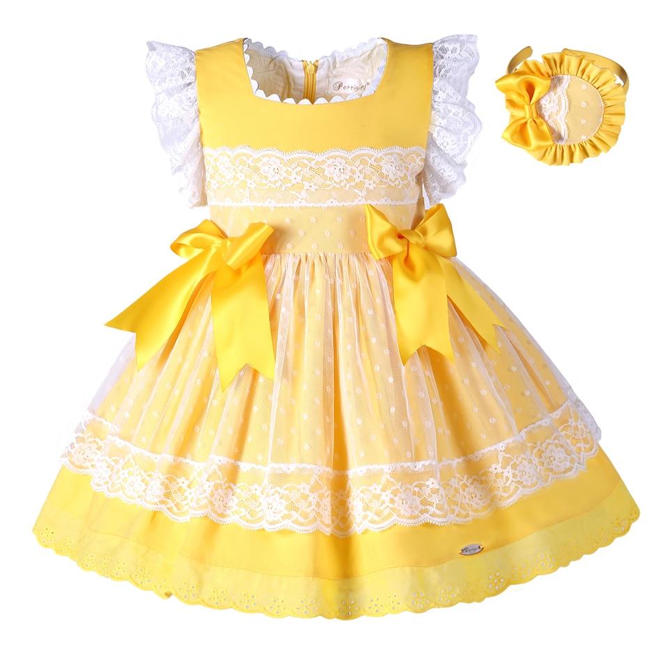 pettigirl new girls easter dress summer yellow cotton kids