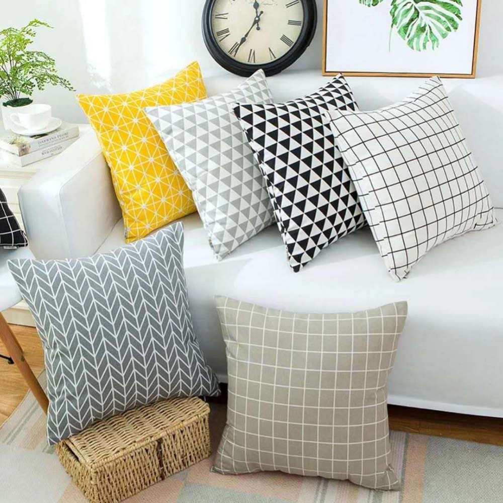 Contemporary Sofa Geometric Pillows: Meijuner Modern Simple Black White Gray Stripe Geometric