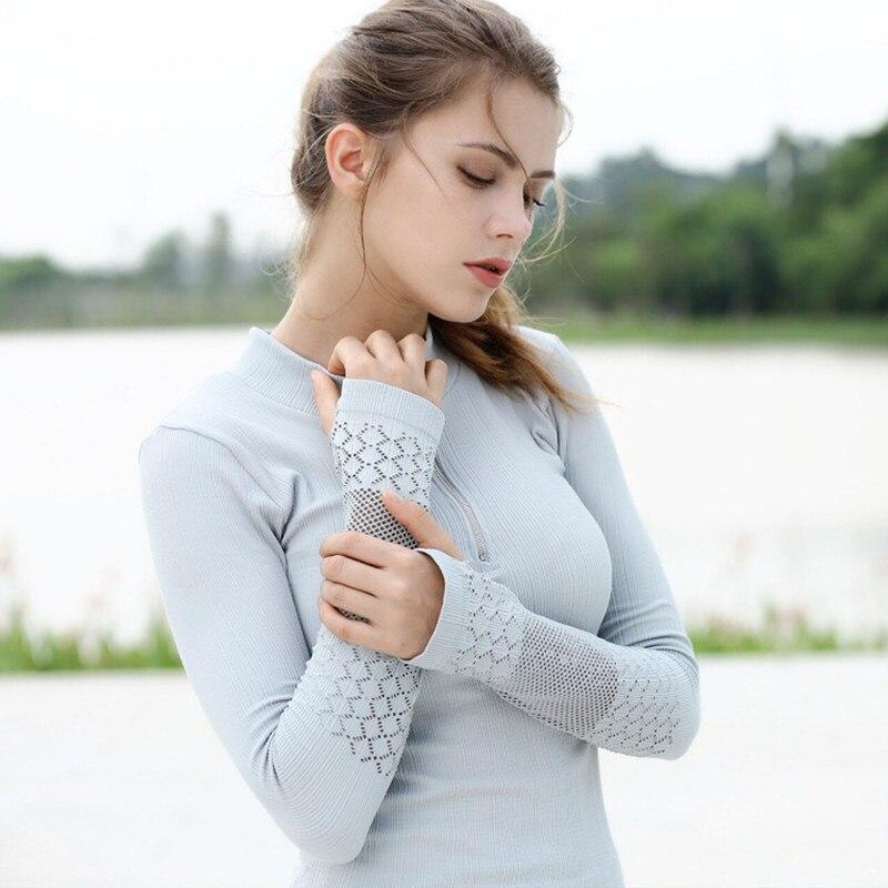 Sexy Women Yoga Shirt Long Sleeve Gym Wo