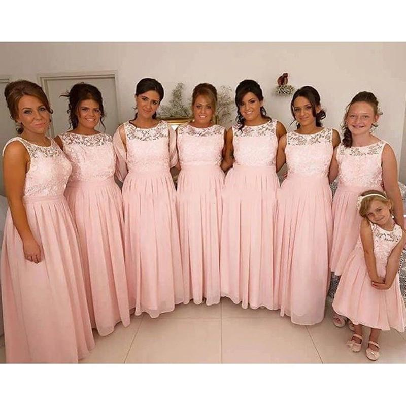 2017 Top Lace Scoop Long Bridesmaid Dresses Light Pink ...