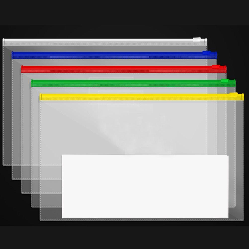 5Pcs A4/A5/A6 Waterproof Transparent PVC Zipper Bag File Folder Document Filing Bag Stationery Bag School Office Supplies