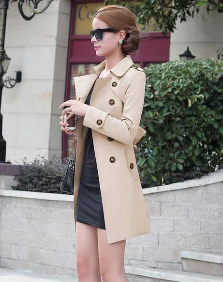 1PC Trench Coat For Women Double Breasted Slim Fit Long Spring Coat Casaco Feminino Abrigos Mujer Autumn Outerwear 3