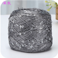 Hot 1 Balls Lot 100g Natural Hard Sequins Cotton Yarn Thin Yarn Wholesale Thread 250 Meters