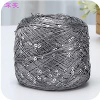 Hot 1 Balls Lot 100g Natural Hard Sequins Cotton Yarn Thin Yarn Wholesale Thread 250 Meters